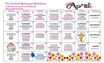 Sample of an April event calendar at Cardinal Retirement Residence.