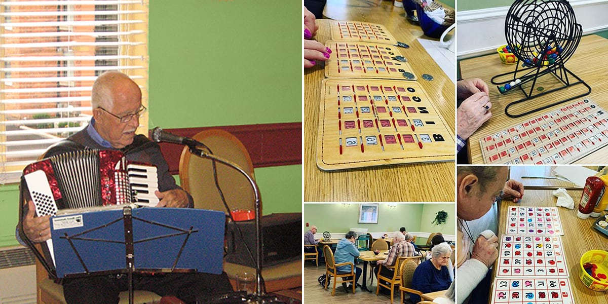 Page header showing photo of a man playing the accoridan and smaller photos of people playing bingo
